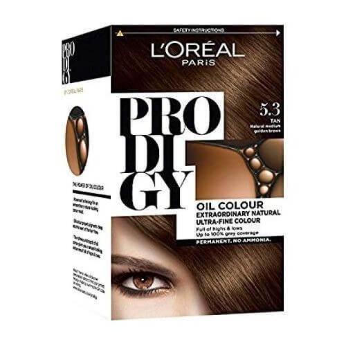 L'Oreal Paris Prodigy Ammonia Free Hair Color - 5.3 Light Golden Brown / Tan