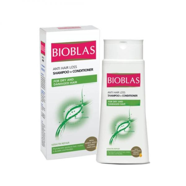 BIOBLAS anti hair loss shampoo and conditioner for dry and damaged hair - keratin repair - 200 ml
